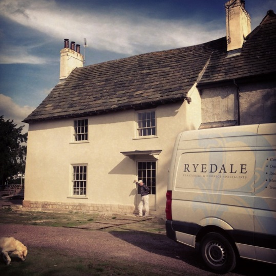 traditional lime render on a house Church Fenton with a Ryedale Plasterer's van