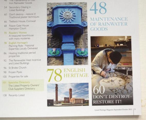 ornamental plasterer on the contents page of Listed Property Owners Club Magazine