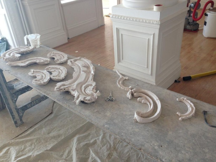 Enrichment moulds ready for casting on ornamental ceiling repairs