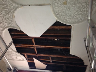 water damaged ornate plaster ceiling in Harrogate