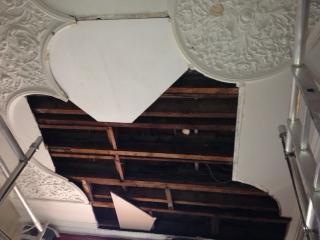 water damaged ornate plaster ceiling in Harrogate