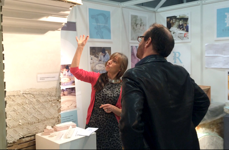 Catherine talking to a customer at the Listed Property Show in Harrogate