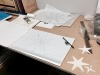 technical drawings in progress of a star and constellation ornamental plaster ceiling
