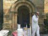 Ryedale Plasterers team at a historic church restoration site