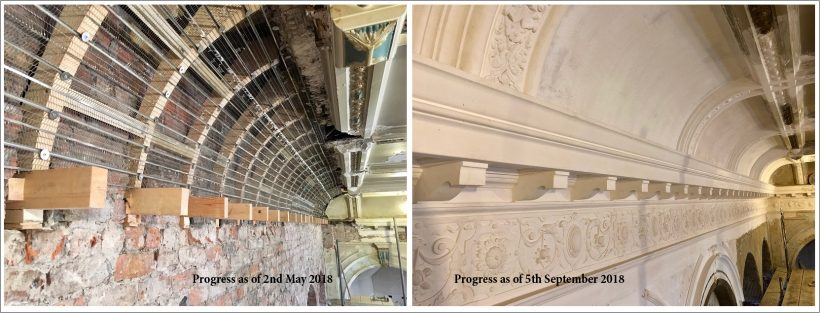 progress on ornamental plasterwork between May and September