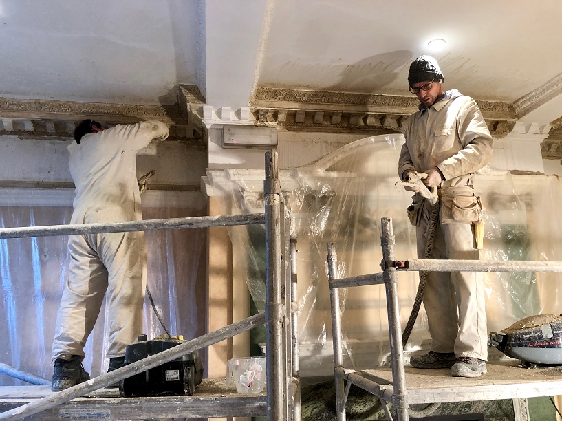 Ryedale Plasterers at work on a cornice restoration in Bedale Hall