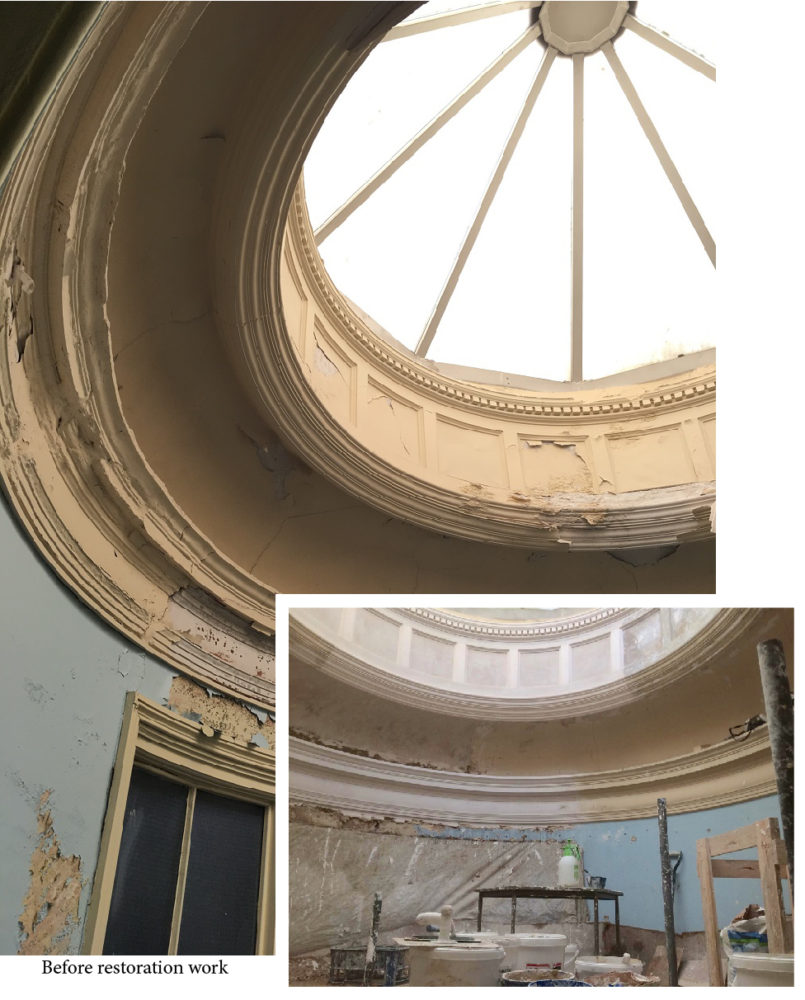 Depicting images of the circular glazed dome before plasterwork restoration began, with a smaller image of progress in this area to date