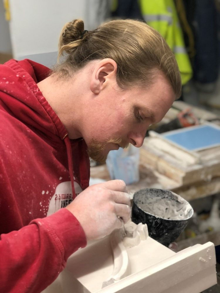 Ben working on a bespoke decorative plaster work project