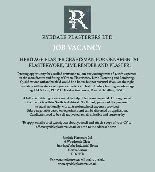 details of heritage plastering vacancies at Ryedale Plasterers