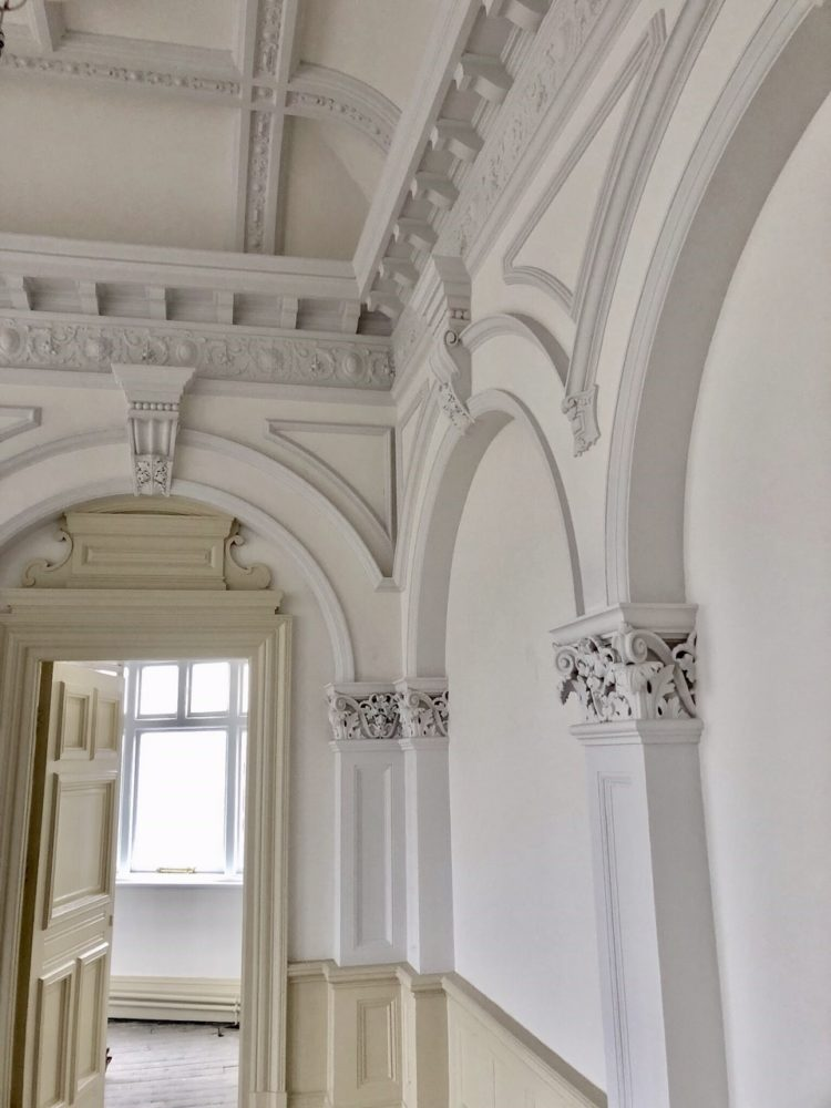 The finished decorative plasterwork painted in 3 subtle shades, the ornamental plasterwork in the Civic Suite is now finished.